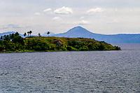 Indonesia, Sumatra. Samosir. Looking north from the mainland towards Samosir. There are some high moiuntains around Danau Toba.