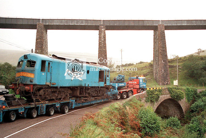 The last train to journey between Dublin and Cahersiveen makes a return by road and ironically passes the famous Kells viaduct railway bridge on the Ring of Kerry where it would have passed over on its final journey from Cahirciveen to Dublin in 1960.<br /> Picture by Don MacMonagle