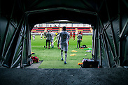 OSTERSUND, SWEDEN - JUNE 06: (EDITORS NOTE: Image has been digitally enhanced.) Blair Turgott of Ostersunds FK enters the pitch ahead of an internal match within Ostersunds FK at Jamtkraft Arena on June 06, 2020 in Ostersund, Sweden. The Swedish government and FHM, Folkhalsomyndigheten have given clearance to start up all levels of sporting activities from the 14th of June. Until then, teams are forced to train and play within their teams to prepare for the season. (Photo by David Lidström Hultén/LPNA)