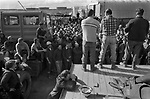 Sullom Voe 1970s Shetland Islands Scotland construction of oil industry site for BP British Petroleum to take North Sea oil. Construction workers hold union meeting to discuss strike action. 1979