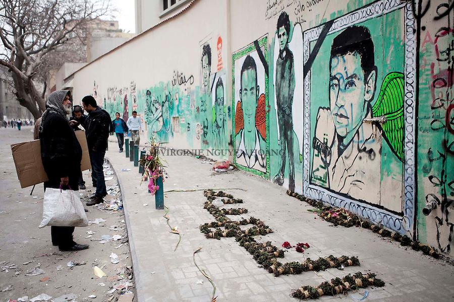 07/02/2012..Graffiti of Egyptian youths killed in clashes depicted on the walls of the capital Cairo...Graffiti de jeunes egyptiens tues dans des affrontements sont represente sur les murs de la capitale Egyptienne. .