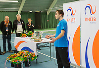 March 15, 2015, Netherlands, Rotterdam, TC Victoria, NOJK, Winner boys 18 years Guy den Heijer with his winners speech<br /> Photo: Tennisimages/Henk Koster