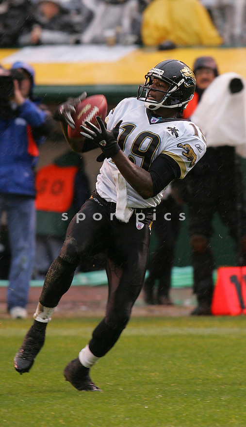 Ernest Wilford, of the Jacksonville Jaguars against  the Oakland Raiders on 1/15/05..Jaguars lose 6-13..Rob Holt / SportPics