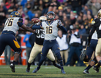 California quarterback Jared Goff throws the ball during the game against Colorado at Folsom Field in Boulder, Colorado on November 16th, 2013.  Colorado defeated California, 41-24.