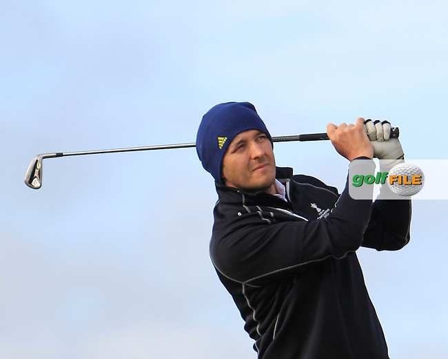 Paul Burke (Mullingar) on the 1st tee during Round 2 of the Irish Amateur Close Championship at Seapoint Golf Club on Sunday 8th June 2014.<br /> Picture:  Thos Caffrey / www.golffile.ie
