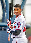 22 February 2019: Washington Nationals left fielder Juan Soto awaits his turn in the batting cage during a Spring Training workout at the Ballpark of the Palm Beaches in West Palm Beach, Florida. Mandatory Credit: Ed Wolfstein Photo *** RAW (NEF) Image File Available ***