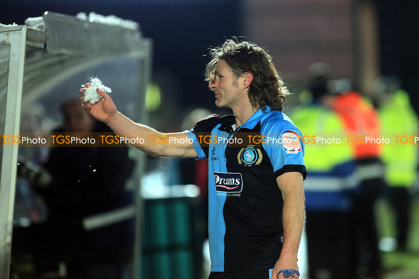 Wycombe Player/Manager, Gareth Ainsworth, dedicates the victory against Dagenham to the supporters who helped clear the snow off the pitch and car park - Wycombe Wanderers vs Dagenham & Redbridge - NPower League Two Football at Adams Park, High Wycombe - 19/01/13 - MANDATORY CREDIT: Paul Dennis/TGSPHOTO - Self billing applies where appropriate - 0845 094 6026 - contact@tgsphoto.co.uk - NO UNPAID USE.
