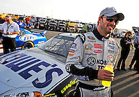Feb. 27, 2009; Las Vegas, NV, USA; NASCAR Sprint Cup Series driver Jimmie Johnson during qualifying for the Shelby 427 at Las Vegas Motor Speedway. Mandatory Credit: Mark J. Rebilas-