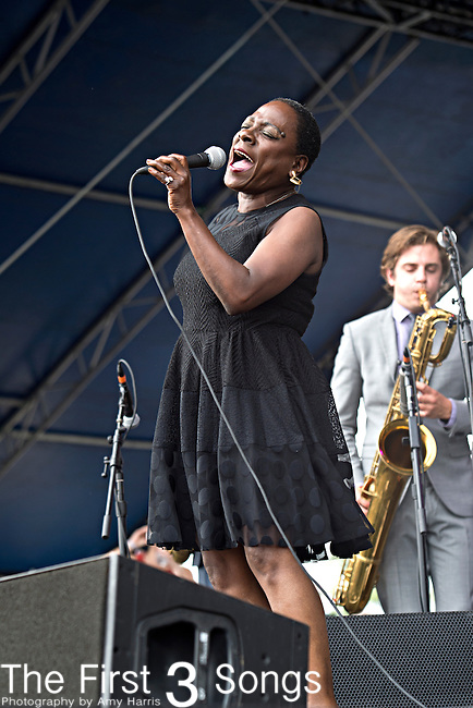 Sharon Jones and the Dap-Kings perform during the Forecastle Music Festival at Waterfront Park in Louisville, Kentucky.