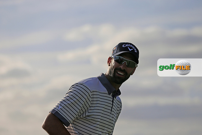 Alvaro Quiros (ESP) prepares to tee off the 18th tee during Saturday's Round 3 of the 2013 Portugal Masters held at the Oceanico Victoria Golf Club. 12th October 2013.<br /> Picture: Eoin Clarke www.golffile.ie