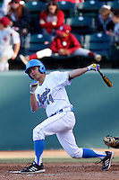 Brett Urabe #44 of the UCLA Bruins bats against the Oklahoma Sooners at Jackie Robinson Stadium on March 9, 2013 in Los Angeles, California. (Larry Goren/Four Seam Images)