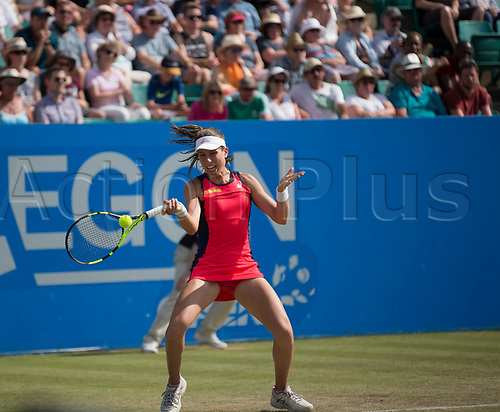 June 18th 2017, Nottingham, England; WTA Aegon Nottingham Open Tennis Tournament day 7 finals day;  Forehand from Johanna Konta of Great Britain in her match with Donna Vekic of Croatia