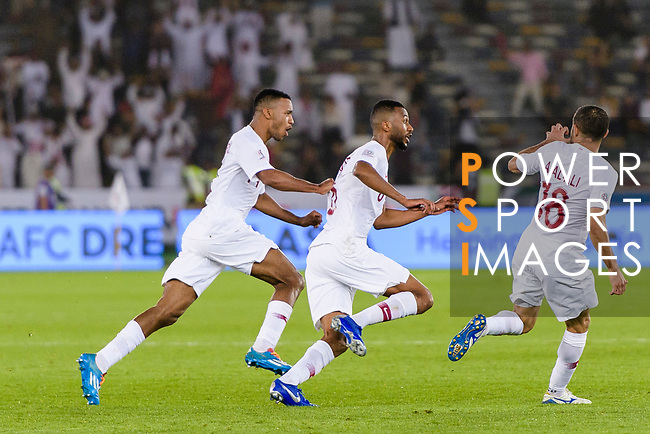 Abdel Aziz Hatim of Qatar (C) celebrates after scoring his goal with his teammates during the AFC Asian Cup UAE 2019 Quarter Finals match between Qatar (QAT) and South Korea (KOR) at Zayed Sports City Stadium  on 25 January 2019 in Abu Dhabi, United Arab Emirates. Photo by Marcio Rodrigo Machado / Power Sport Images