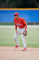 GCL Phillies West second baseman Christian Valerio (13) during a game against the GCL Blue Jays on August 7, 2018 at Bobby Mattick Complex in Dunedin, Florida.  GCL Blue Jays defeated GCL Phillies West 11-5.  (Mike Janes/Four Seam Images)