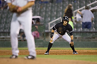 Tyler Sullivan (2) of the Kannapolis Intimidators takes his lead off of first base against the Hickory Crawdads at Kannapolis Intimidators Stadium on April 22, 2017 in Kannapolis, North Carolina.  The Intimidators defeated the Crawdads 10-9 in 12 innings.  (Brian Westerholt/Four Seam Images)