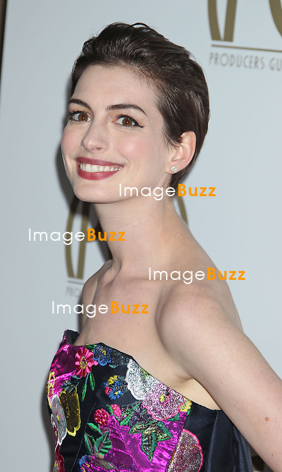 Anne Hathaway, 24th Annual Producers Guild Awards held at The Beverly Hilton Hotel in Beverly Hills..Los Angeles, January 25, 2013.
