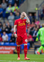 Ryan Kent of Liverpool holds his head during the 2016/17 Pre Season Friendly match between Tranmere Rovers and Liverpool at Prenton Park, Birkenhead, England on 8 July 2016. Photo by PRiME Media Images.