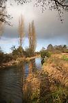 River Deben landscape , Ufford with rain  clouds, Suffolk, England River Deben landscape , Ufford with rain  clouds, Suffolk, England