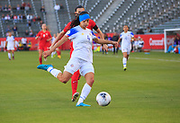 CARSON, CA - FEBRUARY 07: Shelina Zadorsky #4 of Costa Rica turns with the ball during a game between Canada and Costa Rica at Dignity Health Sports Park on February 07, 2020 in Carson, California.