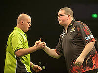 09.04.2015. Sheffield, England. Betway Premier League Darts. Matchday 10.  Stephen Bunting [ENG] shakes hands with Michael van Gerwen [NED] before their  match.