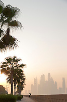 Dubai Marina, seen from The Palm at dawn, United Arab Emirates