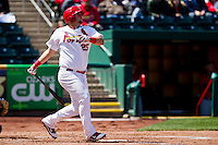 Matthew Adams (25) of the Springfield Cardinals follows through after hitting a home run during a game against the Frisco RoughRiders on April 16, 2011 at Hammons Field in Springfield, Missouri.  Photo By David Welker/Four Seam Images