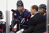 Jaime Fox (UConn - 47), Casey Handrahan (UConn - Assistant Coach), Leah Lum (UConn - 7) - The Boston College Eagles defeated the visiting UConn Huskies 4-0 on Friday, October 30, 2015, at Kelley Rink in Conte Forum in Chestnut Hill, Massachusetts.