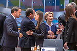 BRUSSELS - BELGIUM - 12 December 2019 -- EU-Summit with Heads of State - European Council meeting - Presidency of Finland. -- Sanna Marin (2nd le), Prime Minister of Finland during her first EU-Summit as PM with Xavier Bettel, PM of Luxembourg and Ursula von Der Leyen, President of the European Commission. -- PHOTO: Juha ROININEN / EUP-IMAGES