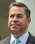 United States Representative Ben Ray Lujan (Democrat of New Mexico) listens as Democratic members of the United States House and Senate speak to reporters at the White House in Washington, DC after meeting with US President Donald J. Trump on April 30, 2019.  Lujan serves as assistant speaker and recently announced he is running for the US Senate from New Mexico in the 2020 election.<br /> Credit: Ron Sachs / CNP