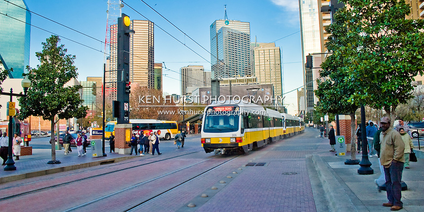 Dallas Area Rapid Transit, or DART, trains picking up commuters at the West End Station.