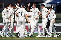 30th November 2019, Hamilton, New Zealand;  England's Stuart Broad celebrates the wicket of Latham during play on day 2 of 2nd test match between New Zealand and England,  International Cricket at Seddon Park, Hamilton, New Zealand.  - Editorial Use