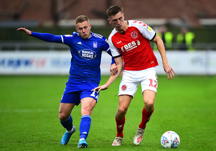 Fleetwood Town's Jimmy Dunn vies for possession with Ipswich Town's Danny Rowe<br /> <br /> Photographer Richard Martin-Roberts/CameraSport<br /> <br /> The EFL Sky Bet League One - Fleetwood Town v Ipswich Town - Saturday 5th October 2019 - Highbury Stadium - Fleetwood<br /> <br /> World Copyright © 2019 CameraSport. All rights reserved. 43 Linden Ave. Countesthorpe. Leicester. England. LE8 5PG - Tel: +44 (0) 116 277 4147 - admin@camerasport.com - www.camerasport.com