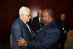 Palestinian President Mahmoud Abbas meets with President of Gabon, Ali Bongo Ondimba, on the sidelines of the 29th Ordinary Session of the Assembly of the Heads of State and the Governments, in Addis Ababa, Ethiopia July 3, 2017. Photo by Thaer Ganaim