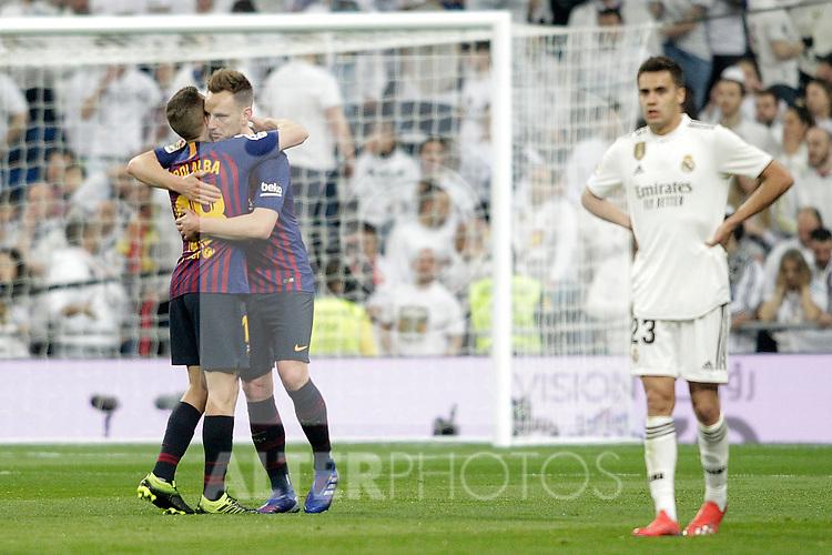 FC Barcelona's Jordi Alba and Sergio Busquets during La Liga match. March 02,2019. (ALTERPHOTOS/Alconada)