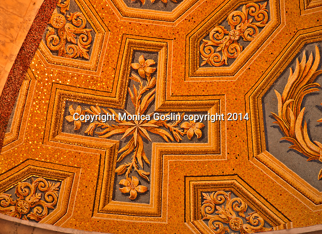 Looking up at the mosaics inside the Pantheon, the iconic template built between 118 and 125 AD