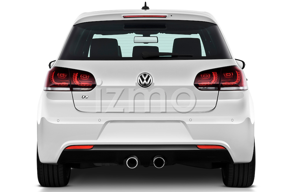 Straight rear view of a 2011 Volkswagen Golf R 5 Door Hatchback Stock Photo