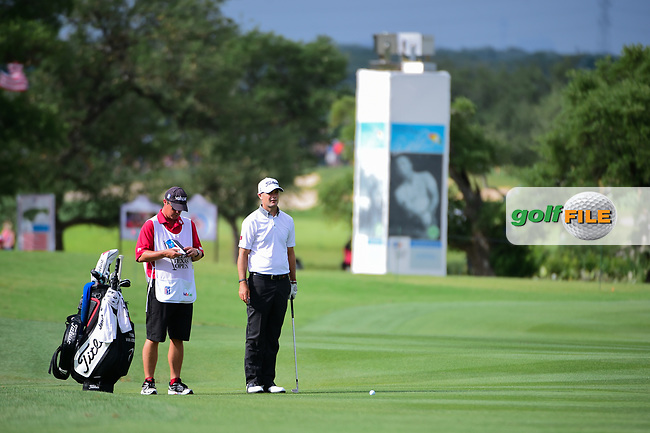 Tyrone Van Aswegen (RSA) looks over his approach shot on 18 during round 2 of the Valero Texas Open, AT&amp;T Oaks Course, TPC San Antonio, San Antonio, Texas, USA. 4/21/2017.<br /> Picture: Golffile | Ken Murray<br /> <br /> <br /> All photo usage must carry mandatory copyright credit (&copy; Golffile | Ken Murray)