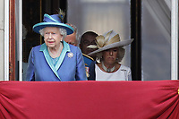 HM The Queen Elizabeth II, Camilla Duchess of Cornwall<br /> The Royal Family watch RAF centenary fly-past at Buckingham Palace, The Mall, London, England on July 10, 2018.<br /> CAP/GOL<br /> &copy;GOL/Capital Pictures