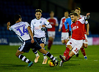 Fleetwood Town's Conor McAleny is tackled by Bury's Phil Edwards<br /> <br /> Photographer Alex Dodd/CameraSport<br /> <br /> The EFL Checkatrade Trophy Group B - Bury v Fleetwood Town - Tuesday 13th November 2018 - Gigg Lane - Bury<br />  <br /> World Copyright &copy; 2018 CameraSport. All rights reserved. 43 Linden Ave. Countesthorpe. Leicester. England. LE8 5PG - Tel: +44 (0) 116 277 4147 - admin@camerasport.com - www.camerasport.com