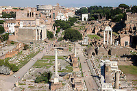 Rome 2007.Roman Forum, view from Campidoglio, back the Colosseum..Foro Romano-Palatino