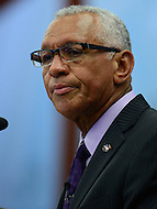 Washington, DC - April 27, 2016: NASA Administrator Charles  Bolden, Jr. speaks on human space exploration and NASA's future during a discussion at the Center for Strategic and International Studies in the District of Columbia, April 27, 2016. Bolden is a retired Marine Corps Major General and NASA astronaut who commanded two space shuttle missions.  (Photo by Don Baxter/Media Images International)