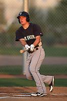 Joe DeCarlo #5 of the AZL Mariners bats against the AZL Diamondbacks at Salt River Fields at Walking Stick on July 27, 2012 in Scottsdale, Arizona. Mariners defeated Diamondbacks 9-0. (Larry Goren/Four Seam Images)