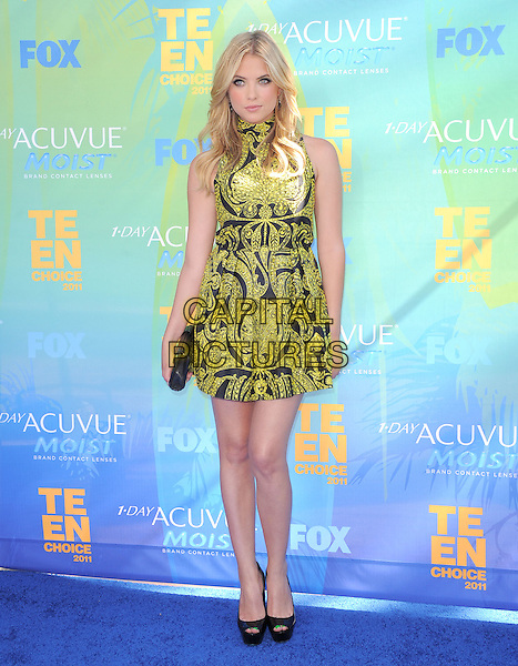 Ashley Benson.2011 Teen Choice Awards - Arrivals held at Gibson Amphitheatre, Universal City, California, USA..August 7th, 2011.full length black sleeveless dress yellow clutch bag . .CAP/RKE/DVS.©DVS/RockinExposures/Capital Pictures.