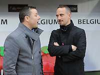 20160408 - ROTHERHAM , ENGLAND : Belgian head coach Ives Serneels (left) pictured in discussion with English head coach Mark Sampson (right) during the female soccer game between England and The Belgian Red Flames - Belgium , the fourth game in the qualification for the European Championship in The Netherlands 2017  , Friday 8 th April 2016 at AESSEAL New York Stadium in Rotherham , England . PHOTO DAVID CATRY