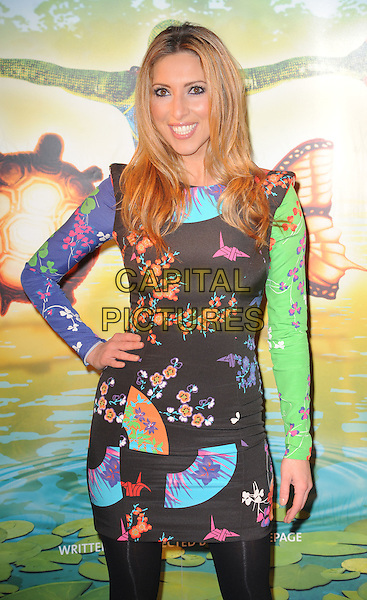 Kate Walsh.'Cirque Du Soleil: Totem' UK Premiere, Royal Albert Hall, London, England..5th January 2012.half length black tights dress green pink print blue purple hand on hip.CAP/WIZ.© Wizard/Capital Pictures.