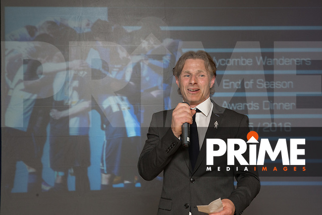Wycombe Wanderers Manager, Gareth Ainsworth during the Wycombe Wanderers End of Season 2016 Awards Dinner at Adams Park, High Wycombe, England on 1 May 2016. Photo by David Horn