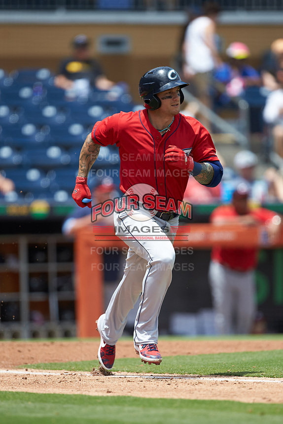 Brandon Barnes (9) of the Columbus Clippers hustles down the first base line against the Durham Bulls at Durham Bulls Athletic Park on June 1, 2019 in Durham, North Carolina. The Bulls defeated the Clippers 11-5 in game one of a doubleheader. (Brian Westerholt/Four Seam Images)