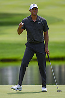 Tiger Woods (USA) sinks his putt on 3 during 2nd round of the World Golf Championships - Bridgestone Invitational, at the Firestone Country Club, Akron, Ohio. 8/3/2018.<br /> Picture: Golffile | Ken Murray<br /> <br /> <br /> All photo usage must carry mandatory copyright credit (&copy; Golffile | Ken Murray)