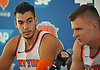 Willy Hernangomez #14 of the New York Knicks, left, listens as Kristaps Porzingis #6 speaks during the team's Media Day held at Madison Square Garden Training Center in Greenburgh, NY on Monday, Sept. 25, 2017.