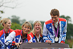 The London 2012 Equestrian Team GB members parading in front of the crowd during the 2012 Land Rover Burghley Horse Trials in Stamford Lincolnshire, UK